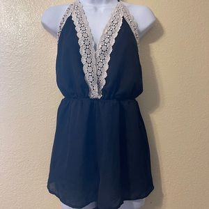 veveret romper with white lace